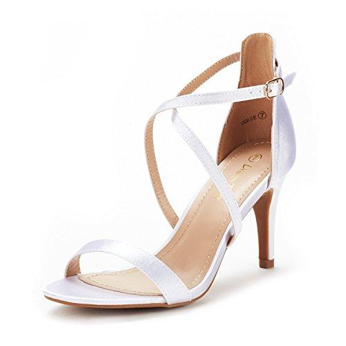 Dream pairs dolce sandali tacco moda spillo punta aperta raso per donna bianco 40 eu