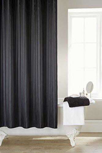 Handtücher Hotel Collection (Satin Stripe schwarz Duschvorhang (180x 180cms) inkl. 12schwarze Ringe, Metall Ösen, Blei Gewichtung und PU beschichtet., die ausschließlich für 4YH Textilien® Hotel Collection)