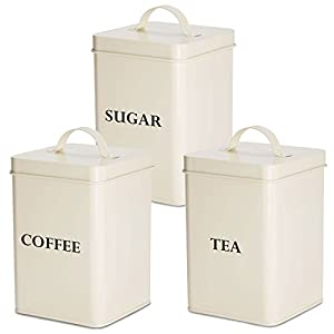 Andrew James Tea Coffee Sugar Canisters | Vintage Style Kitchen Storage Set | Rust Resistant Powder Coated Iron | Cream with Black Text Labels