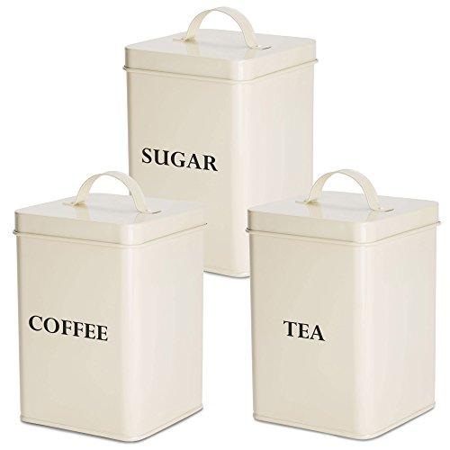 Andrew James Vorratsdosenset für Kaffee Tee und Zucker in Vintage Retro Design 3-Teiliges-Set...
