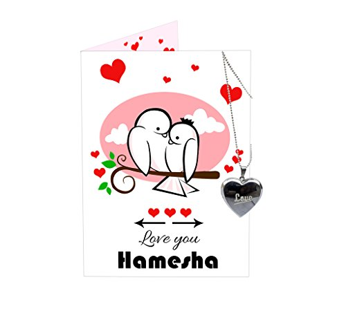 TIED RIBBONS love you Hamesha Greeting card and locket combo for Boy friend | Girl friend | Husband | Wife | Fiance | Fiancee