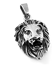 MENDINO Mens Lion King Head Punk Rock Funk Silver Pendant Stainless Steel Chain Necklace