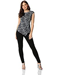 7498881d81cc1 Roman Originals Women Leopard Print Ruched Top - Ladies Smart Casual  Blouses Party Going Out Animal