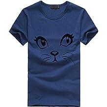 Color sólido Algodón Blusa de Mujer,Honestyi T-Shirt de Simple Verano Camiseta de