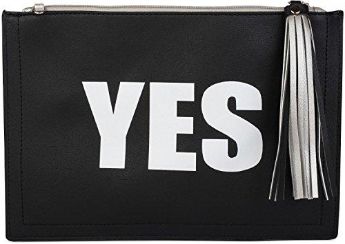 styleBREAKER Clutch mit 'YES' und 'NO' Print, Quasten Anhänger am Reißverschluss, Armschlaufe und Umhängegurt, Damen 02012078, Farbe:Hellblau / Weiß Silber / Schwarz
