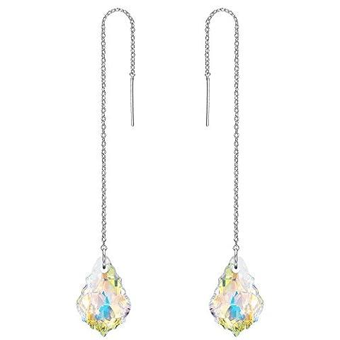 FANZE Damen 925 Sterling Silber Lange Kette Baroque Tropfen Einfädler Ohrringe Hellblau Kristall von Swarovski Klar AB (Kette Einfädler Ohrringe)