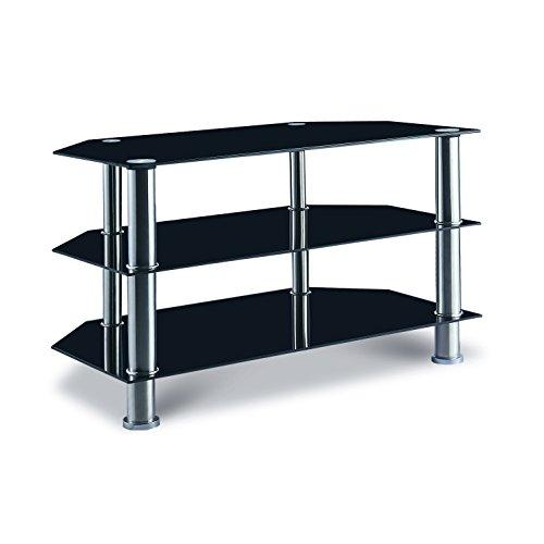 Mobilier Deco Meuble TV en Verre Noir 3 Espace de Rangement