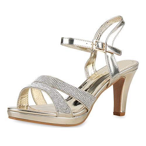 mps Riemchensandaletten Strass Party Sandaletten Elegante Schuhe Metallic High Heels Plateau 175206 Gold Metallic 39 ()