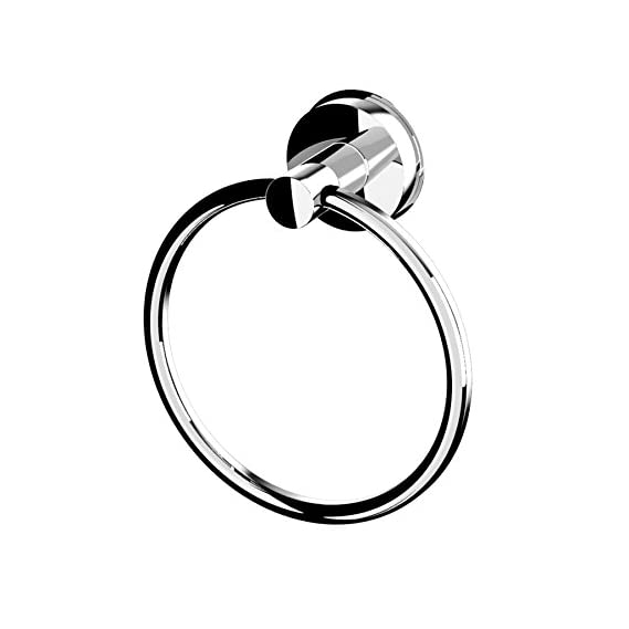 Bathla Suction Towel Ring (Silver) - with Twist Lock Technology for Instant Installation