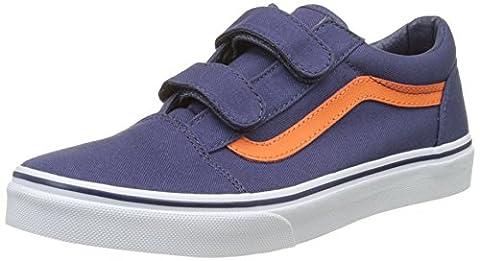Vans Uy Old Skool V, Sneakers Basses Garçon, Bleu (Canvas Crown Blue/Mandarin Orange), 38 EU