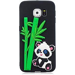 Carols Morbido Samsung Galaxy S6 /G9200 Custodia 3D Carina Custodia Guscio Morbido Sottile TPU Silicone Candy Colore Antiurto Calotta - Nero