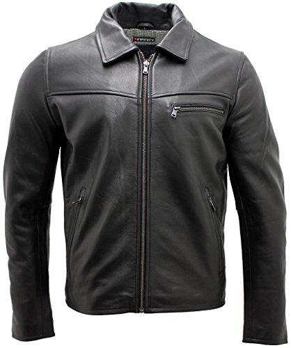 Männer schwarze Lederjacke Harrington 4XL