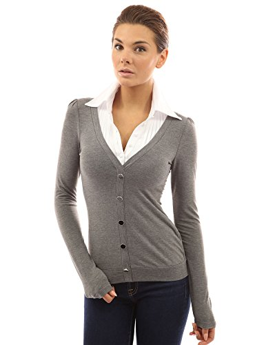 pattyboutik-womens-shirt-collar-pleated-2-in-1-top-grey-14