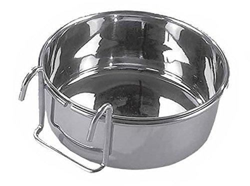 Ciotola in acciaio con supporto - Completa di comodo gancio per un appoggio sicuro (Grande)