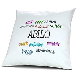 Kopfkissen mit Namen Abilo - Motiv Positive Eigenschaften, 40 cm, 100% Baumwolle, Kuschelkissen, Liebeskissen, Namenskissen, Geschenkidee, Deko