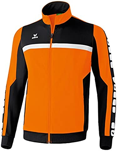 ERIMA Men's Classic 5-Cubes Polyester Jacket - Orange/Black/White,