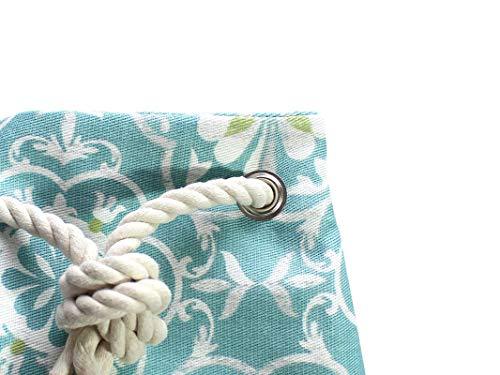 Blau gelber Rucksack / Seesack mit ethno Mandala Motiv. Aus hochwertigem Canvas mit weißer Kordel. Vegane Yoga - Sporttasche - 6