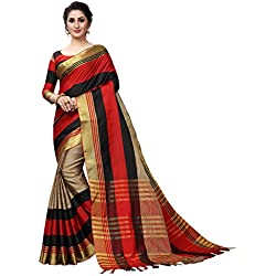 PerfectBlue Cotton Saree with Blouse Piece (AardhyaPlus Variation_Red Black_Free Size)