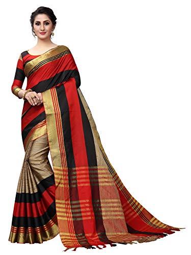 Women's cotton Silk Saree With Blouse Piece (RedBlackPlusArradya)