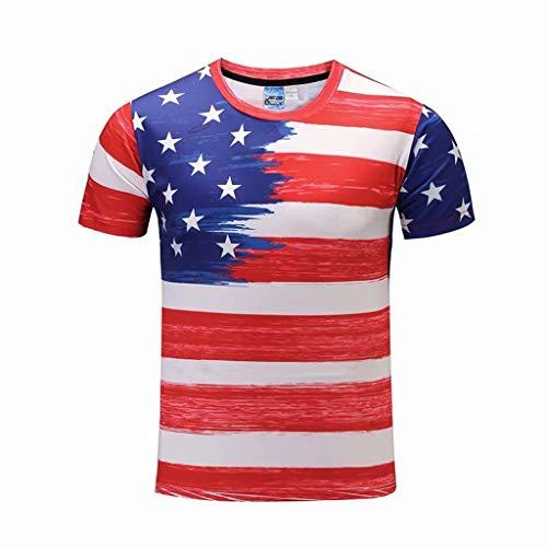 Hahuha Oberteile für Männer,Fashion Men es American Flag Printing Tees Short Sleeve T-Shirt Blouse Tops
