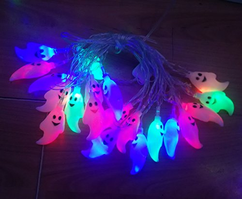 Franchen Halloween LED Lichterkette drinnen draußen Lichter String Flackern Beleuchtung hängenden Haus Garten Dekoration (Geist 20 LED bunt mit Batterie Box)