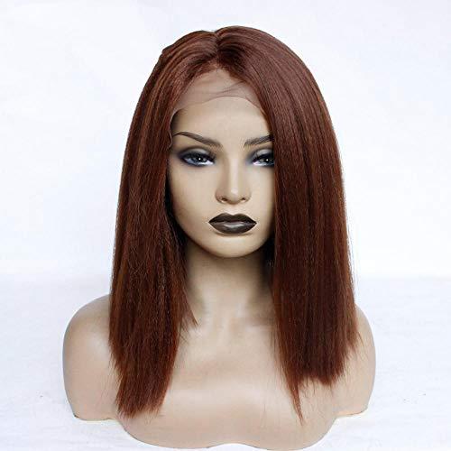 Weiche volle Perücken Synthetische Perücke für kurzes glattes Haar mit hitzebeständiger, klebstofffreier Cosplay-Haarperücke für Damen, 14 Zoll für verschiedene Hautfarben -