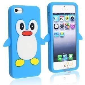 STYLEYOURMOBILE {TM} NEW APPLE IPHONE 5C VARIOUS SILICONE GEL PROTECTION CASE SKIN COVER+SCREEN PROTECTOR+STYLUS (Blue Penguin)
