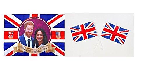 Toyland® Prinz Harry & Meghan Markle Gedenk Königliche Hochzeit 2018 Flag & Pack Von 6 Hand Waving Großbritannien / Union Jack Flags (Königliche Hochzeit Kostüm)