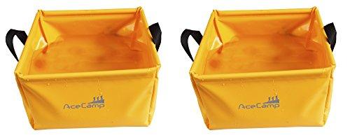 AceCamp 2 x 5 Liter Outdoor Faltschüssel, Faltbare Camping Waschschüssel aus langlebigem Vinyl, Platzsparend und Leicht, Doppelpack Orange, 1700