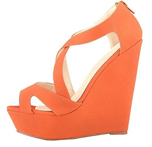 2015 Neu kommen Frühling Sommer-Frauen-Pumpen-Absatz-Schuh-Frauen-Blick-Zehe-Damen Schuhe Sandalen Größe 35-40 Orange