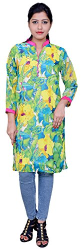 De Louvre Women's Synthetic Straight Kurti (F31_Multicolor_XL)