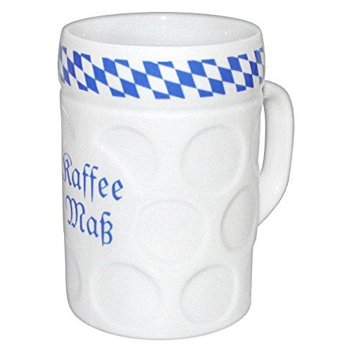 Geschenkbox Kaffeebecher Kaffeemaß im bayerischen Maßkrug-Look blau-weiß mit Rauten