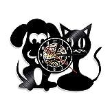 CaiMinGZ Perro y Zorro de vinilo Registro de vinilo Reloj de pared Decoración para El hogar Moderna Arte de la pared Cocina Dormitorio Decoraciones en la Sala de estar Regalos personalizados