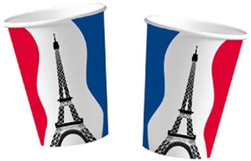 10 Pappbecher im * FRANKREICH * für Party und Geburtstag von DH-Konzept // Feier Fete Set France Paris Französische Nacht Mottoparty Rot WEISS BLAU Becher Partybecher