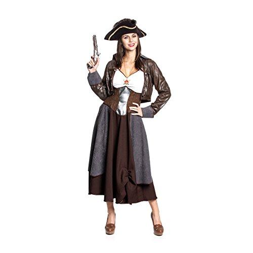 Kostümplanet® Piraten-Kostüm Deluxe Kostüm für Damen Piratin Kleid lang Größe 42