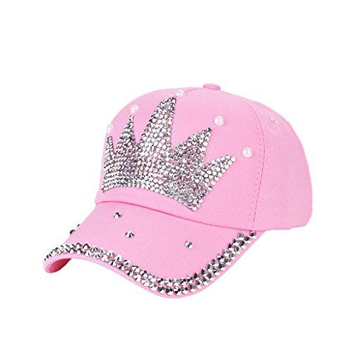 Dairyshop Il capretto delle donne di modo ha placcato registrabile del cappello del faux del modello della parte superiore della protezione del Rhinestone (Blu) Rosa