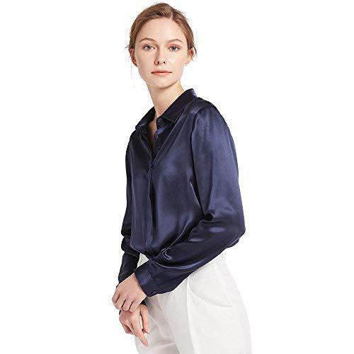 LilySilk Damen Hemdbluse Seide Sommerliche Damenbluse Shirt mit verdeckter Knopfleiste von 22 Momme Verpackung MEHRWEG (Marineblau,M) - Damen 100% Seide Bluse