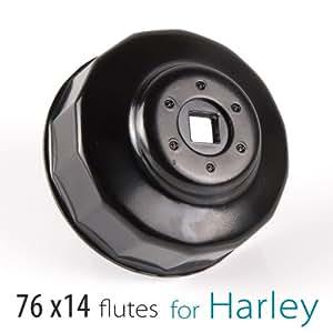 KiWAV Clé pour filtre à huile pour Harley-Davidson 76 mm x 14 flutes
