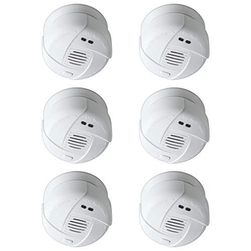 SEBSON 10 Jahres Mini Rauchwarnmelder, DIN EN 14604, VDs 3131, fotoelektrischer Rauchmelder, Lithium Batterie, Stummschaltung, Ø 69x46mm, 6er Pack (Rauchmelder-6er Pack)