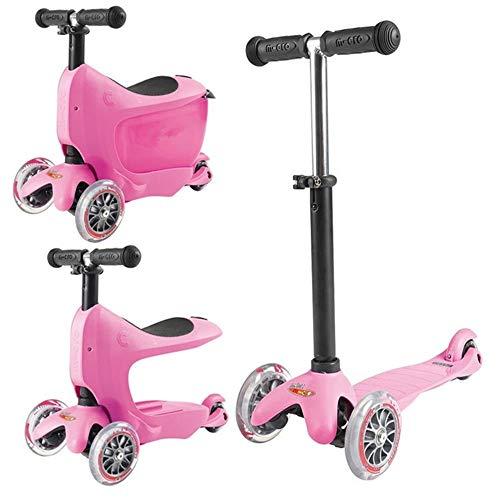 Nuoyi 3-in-1-Tretroller mit abnehmbarem Sitz und Aufbewahrungsbox Ideal für Kinder und Kleinkinder Mädchen oder Jungen, höhenverstellbar, mit extra breitem Deck für Kleinkinder, Pink - Auf Spielzeug Elektro-mädchen Fahrt