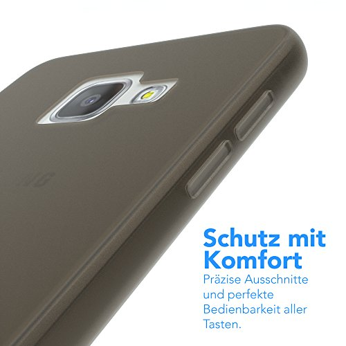 Samsung Galaxy A3 (2016) Hülle - EAZY CASE Ultra Slim Cover Handyhülle - dünne Schutzhülle aus Silikon in Transparent Matt Schwarz