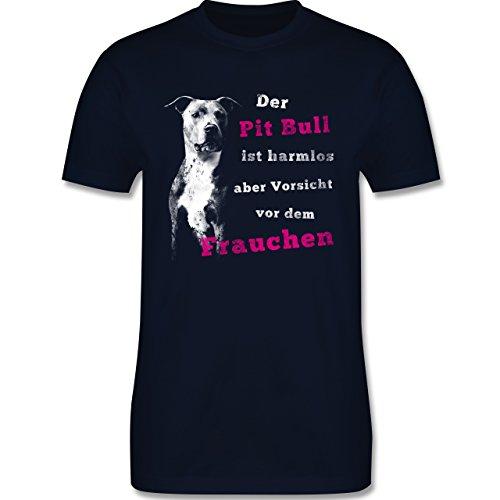 Hunde - Der Pit Bull ist harmlos aber Vorsicht vor dem Frauchen - Herren Premium T-Shirt Navy Blau