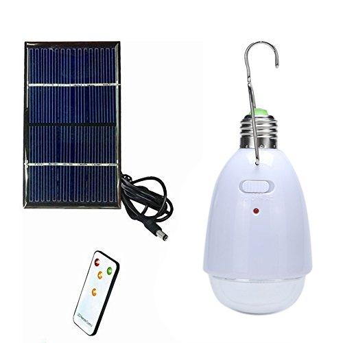 Lixada Energía Bombilla LED de Luz con Panel Solar Portátil Control Remoto Regulable Brigtness para Senderismo Pesca Camping (precio: 11,99€)