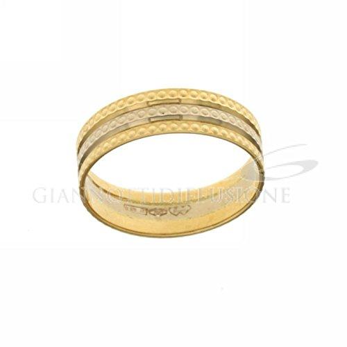 Fedina in oro bianco e giallo puntinata larghezza cm0,50