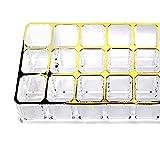 21sandwhick Contenitore di immagazzinaggio dell'organizzatore acrilico da tavolino di bellezza dello scaffale di esposizione di stoccaggio del rossetto di trucco dello spazio di 24 spazzole d'oro