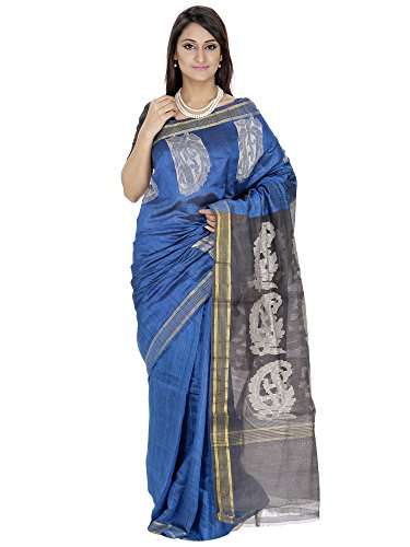 Romi's Raw Silk Handloom Saree (Blue with Black motif pallu)