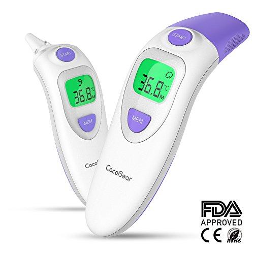 Baby Fieberthermometer CocoBear Stirnthermometer Ohrthermometer Medizinischer Infrarot Digital Thermometer, Sofortiges Lesen Fieberwarnung Klinische Überwachung CE FDA und RoHS Zertifiziert