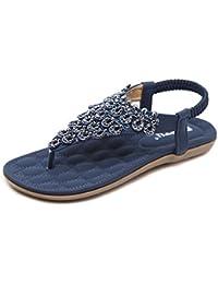 FEITONG Damen Sandalen Zehentrenner Bohemian Strass Flach Sandaletten Sommer Strand Schuhe in Größe 35-42
