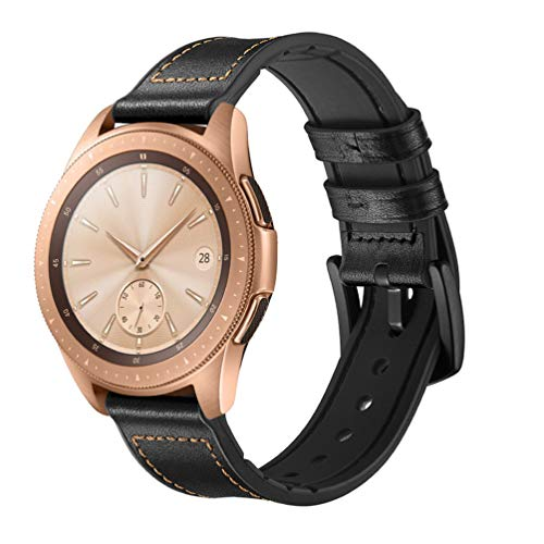 HappyTop Armband aus Leder und Silikon für Samsung Galaxy Watch 42 mm / 46 mm Camouflage Armband Samsung Watch Band, Unisex, (42mm) Black