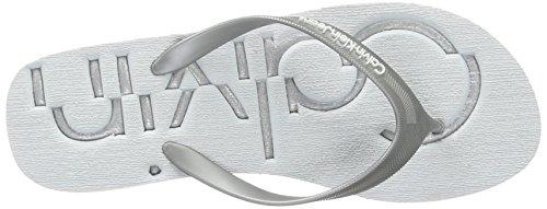 Calvin Klein Jeans Tamber Jelly, Flip Flops Femme Multicolore (White/silver)